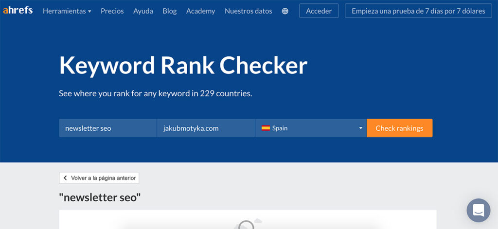 Free Keyword Rank Checker de Ahrefs